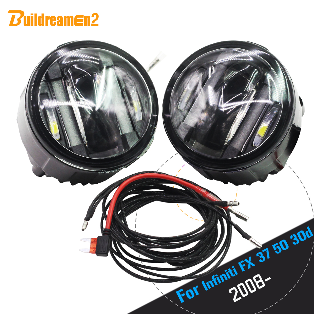 Buildreamen2 2 X Car LED Right + Left Fog Light Daytime Running Lamp DRL 12V Accessories For Infiniti FX 37 50 30d 2008 Up new arrival a pair 10w pure white 5630 3 smd led eagle eye lamp car back up daytime running fog light bulb 120lumen 18mm dc12v