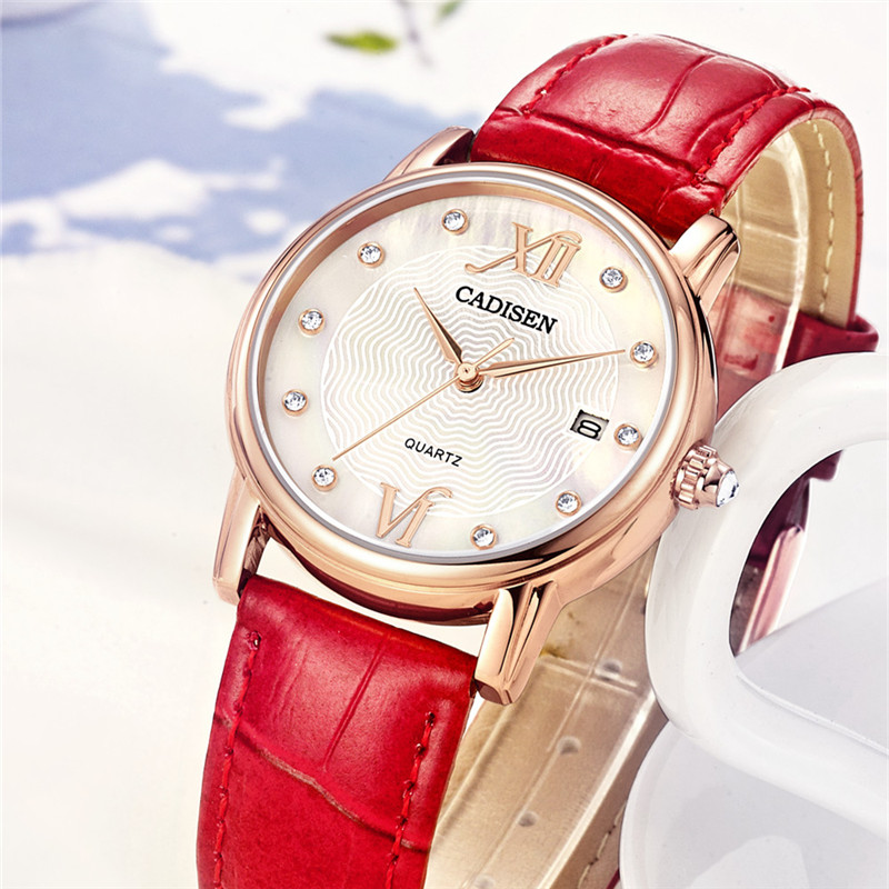 2017 CADISEN Top Brand Fashion Ladies Watches Leather Female Quartz Watch Women Thin Casual Strap Watch Reloj Mujer Clock Gift shengke top brand fashion ladies watches white leather marble dial female quartz watch women thin casual strap watch reloj muje