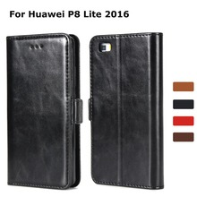 Leather Wallet Case for Huawei P8 Lite Magnetic Flip with 3 Cards Slot Cash 2016 Phone Cover Coque