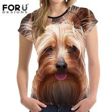 FORUDESIGNS 3D Yorkshire Terrier t-shirt Women Summer T shirt Casual Young Teens Girls Kawaii Cute tshirt Femme Womens Tops Tee