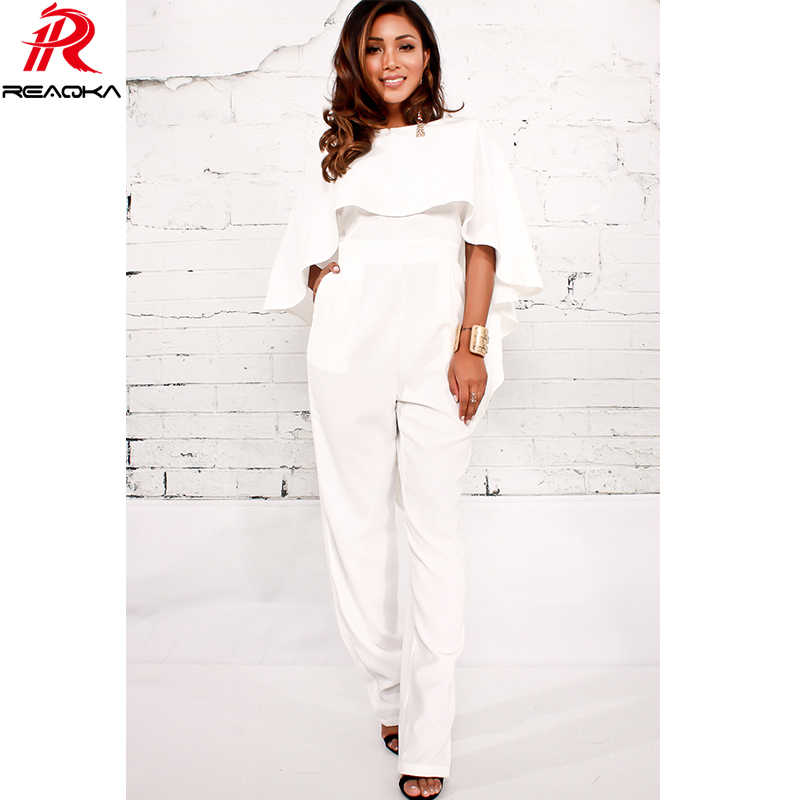 Luxury Sexy Women Backless Ruffles Jumpsuit Romper Elegant White Overalls  Club Wear Party Playsuit 2018 New 878c2a043a1f