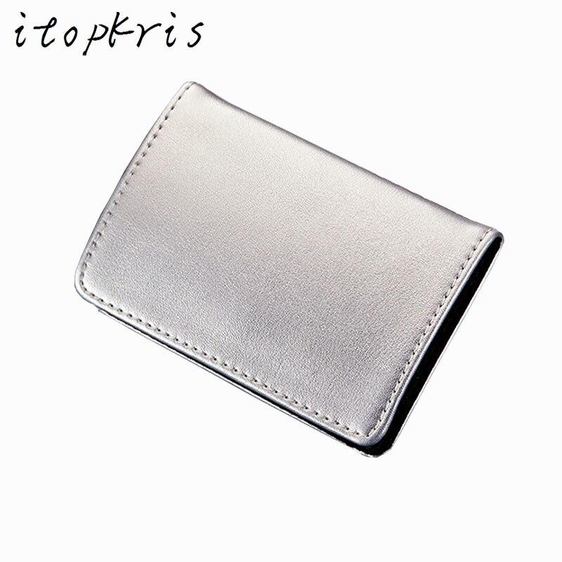 ᗚItopkris Portable Aluminium Business ID Card Holder Case For Women - Porte carte aluminium