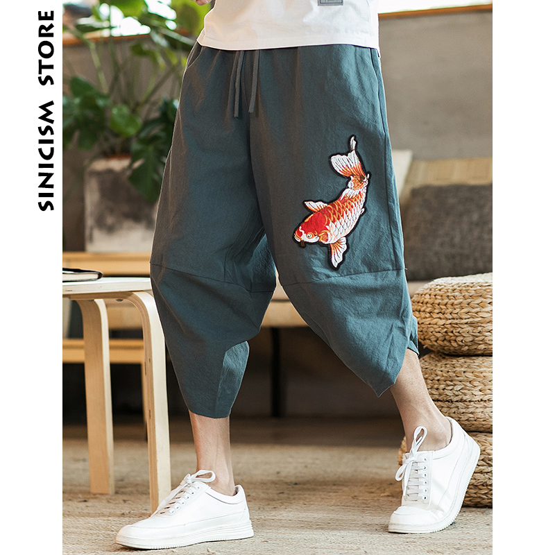 Sinicism Store Mens 2020 New Beach Pants Male Summer Casual Calf-Length Pants Man Carp Embroidery Baggy Loose Trousers