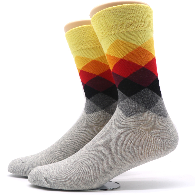 Fashion Mens Colorful Socks Crew Casual Long Socks Art Novelty Colorful Funny Rhombus Breathable Cotton Socks for Man Male