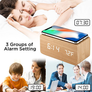 Wooden Alarm Clock With Qi Wireless Charging Pad Compatible With For Iphone Samsung Wood Led Digital Clock Sound Control Funct 4