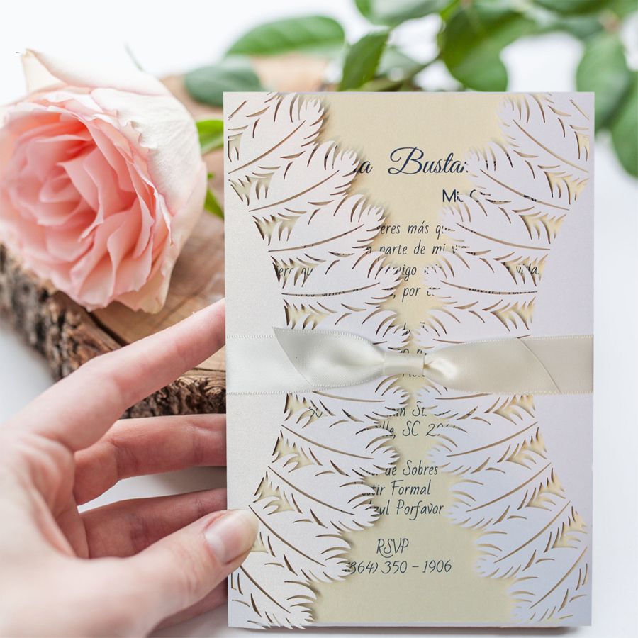 Laser Cut Pure White Wedding Invitations, Feather Wedding Invitation ...
