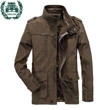 ZHAN DI JI PU Брендовая одежда размера плюс 4XL 5XL 6XL мужская новая стильная армейская хлопковая куртка мужская куртка 135