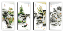 Four Seasons in Water Village(5) Counted Cross Stitch 11CT 14CT Cross Stitch Set Chinese Cross-stitch Kits Embroidery Needlework