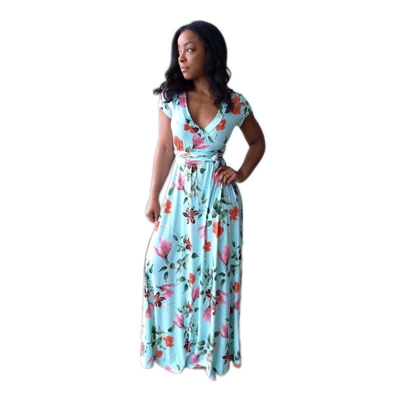 Nueva Moda 2017 Señoras Del Verano Atractivo Maxi Sólido Estampado floral Sin Mangas de Cuello V Imperio Piso-Longitud Del Partido Vestido de Las Mujeres WX015