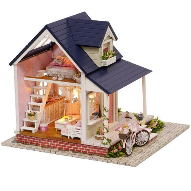 "Miniaturas Wooden Doll House Furniture Diy Dollhouse Kits Assembling Toys for Children,""Bicycle Angle"" Miniature House Toy"