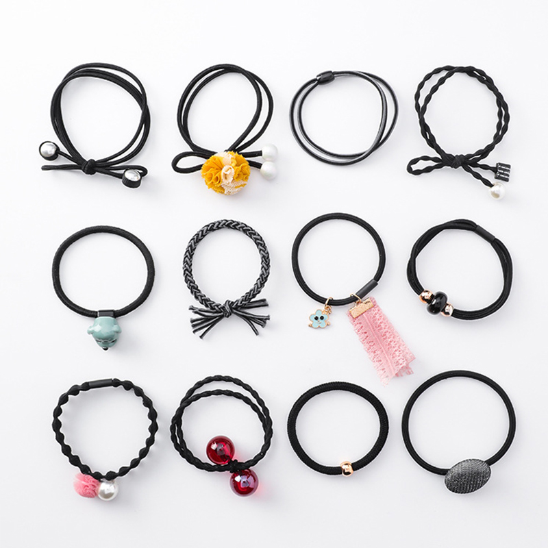 12PCSSet Korea and Japan Fashion Cute Hair Rope Set Sweet Lace Cloth Flower Pearl Bow Button Crystal Headbands Women Headwear