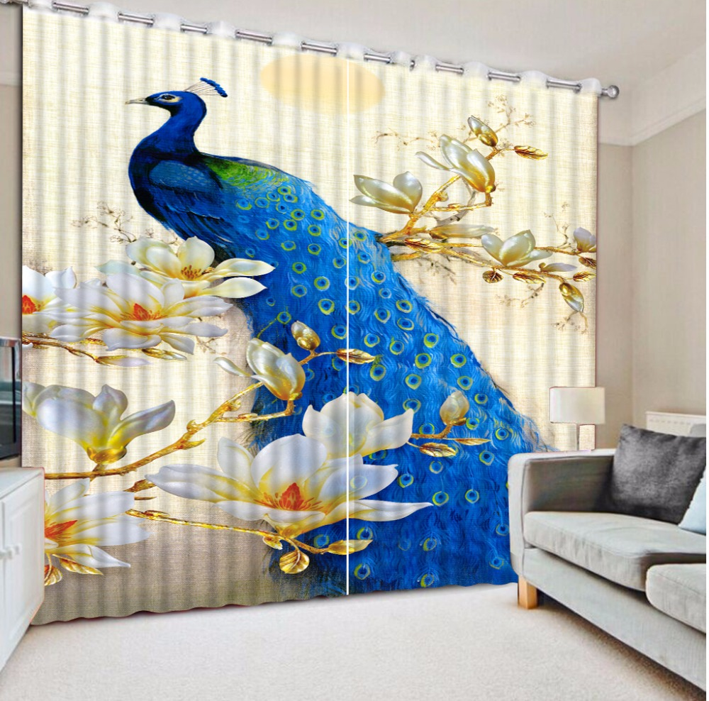 European Bedroom Curtains Beautiful peacock Printing Photo Curtains For Living room 3D Window Curtain Home Decoration European Bedroom Curtains Beautiful peacock Printing Photo Curtains For Living room 3D Window Curtain Home Decoration