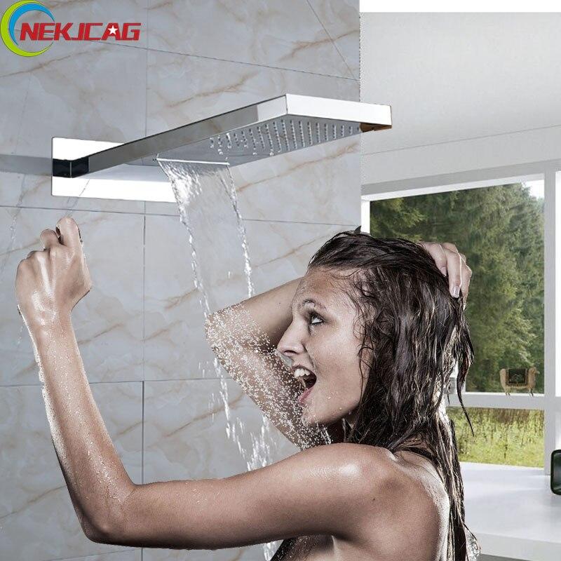 Dual Functions Bathroom Shower Head Polished Chrome Rainfall Waterfall Shower Head Wall Mounted head ridott 20 2014
