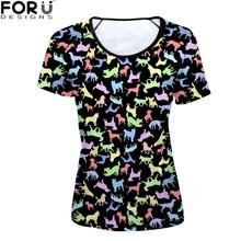 FORUDESIGNS t-shirt Women Fashion Casual tees shirt Cat Female Funny tshirt for Womens Girls Kawaii Harajuku Animal Clothing Tee