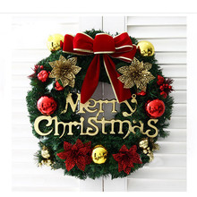 Christmas Wreath Circle Rattan Mistletoe Balls Artificial Wreath Door Hanging Decor Xmas Ornaments Window Door Festival Decor