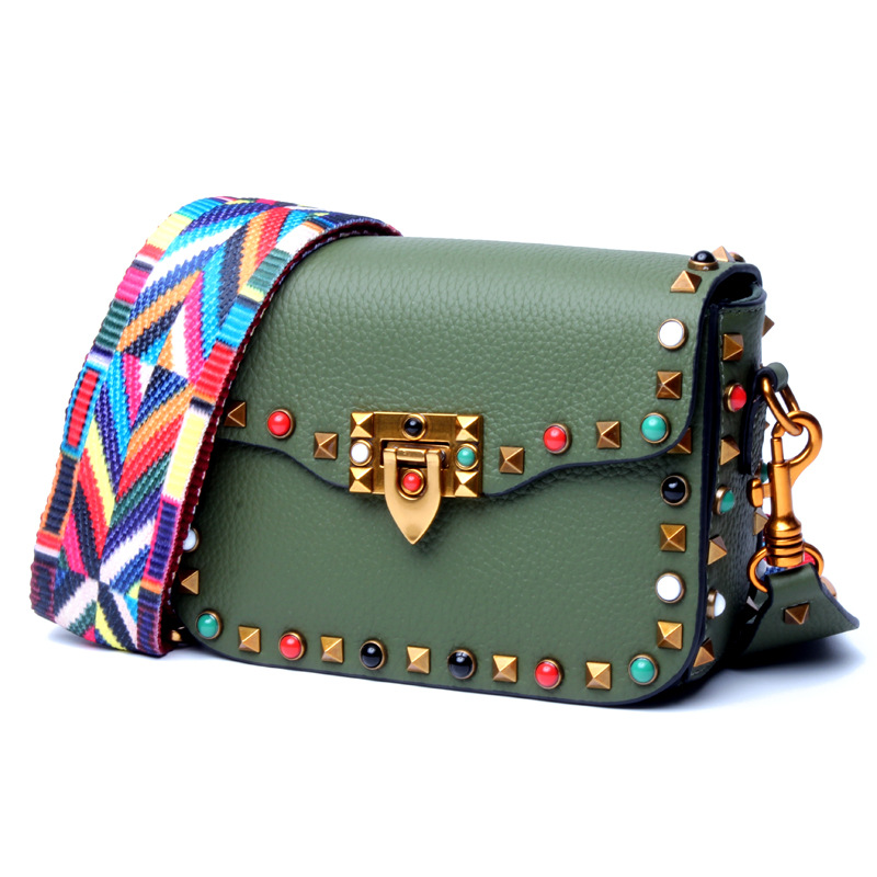 Fashion Mini Genuine Leather Women Crossbody Bags Rivet Vintage Shoulder Bag Designer Famous Brand Handbag Ladies Messenger Bags luxury genuine leather bag fashion brand designer women handbag cowhide leather shoulder composite bag casual totes