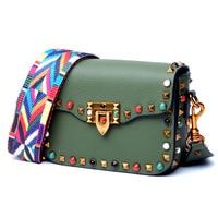 Fashion Mini Genuine Leather Women Crossbody Bags Rivet Vintage Shoulder Bag Designer Famous Brand Handbag Ladies