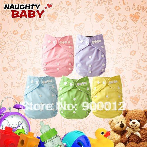 Free Shipping Sale Naughtybaby New Arrive Double Row Ajustable Snaps Cloth Diapers 1 Nappies With 2