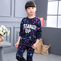2016 autumn winter girls sports clothing sets colouful scrawl children's wear scrawl casual tracksuits kids clothes sports suit