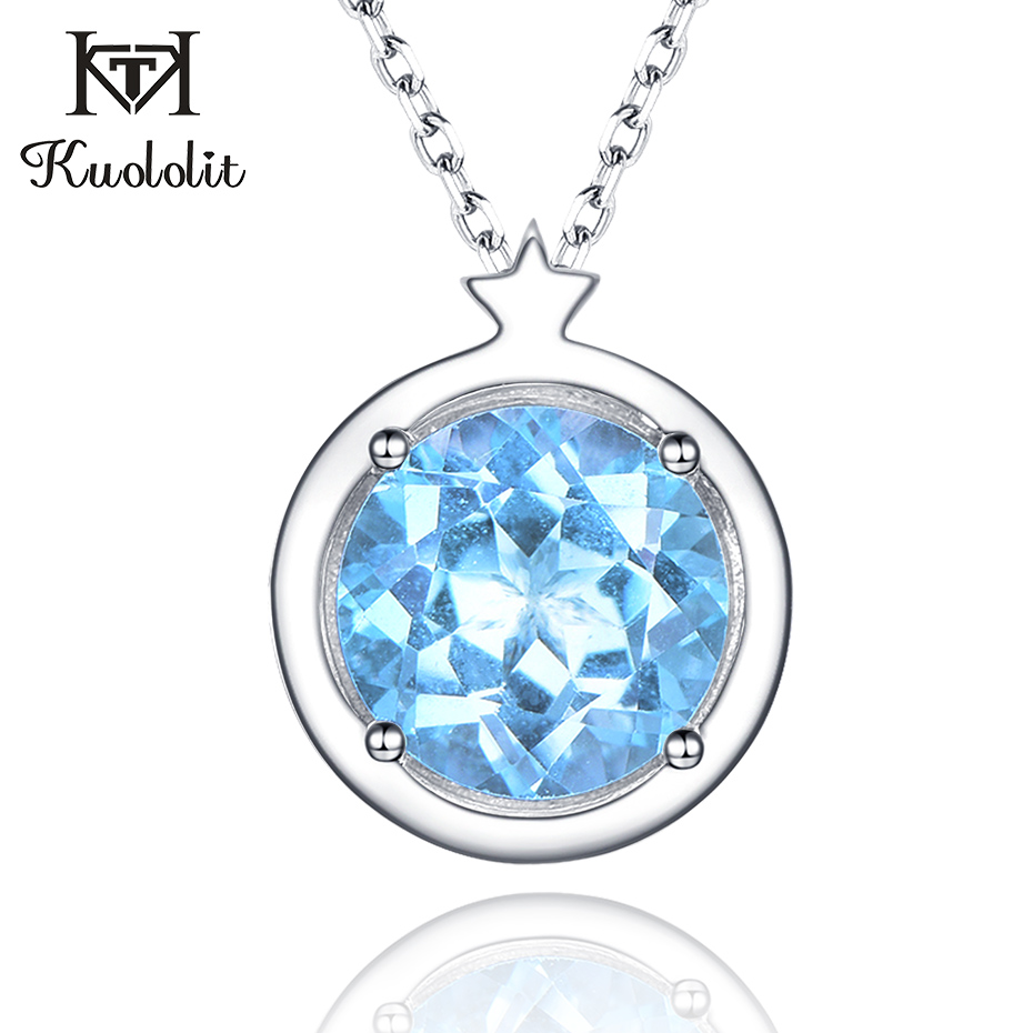 Kuololit Natural Sky Blue Topaz Pendants Necklaces For Women 925 Sterling Silver Jewelry Custom Letter Star Anniversary GiftKuololit Natural Sky Blue Topaz Pendants Necklaces For Women 925 Sterling Silver Jewelry Custom Letter Star Anniversary Gift