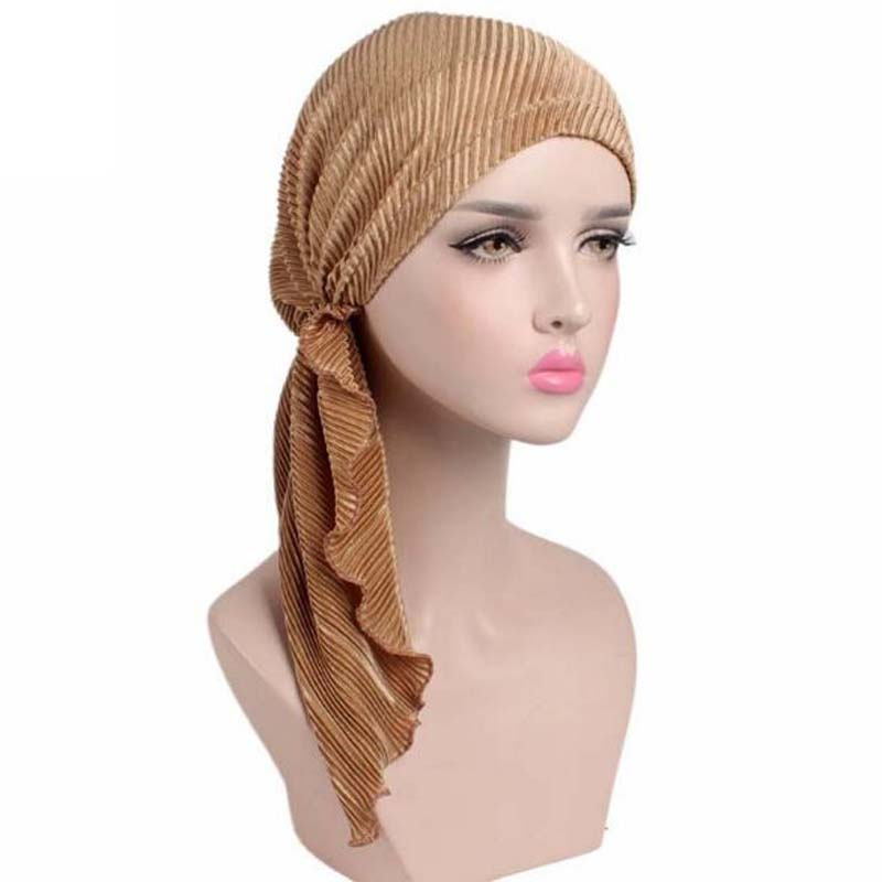 New Fold Long Tail PRE-TIE-STYLE   Skullies     Beanies   Spring Autumn Brand Elastic Fabric Turban Hats For Women Chemotherapy Cap