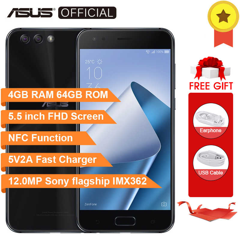 ASUS Zenfone 4 ZE554KL Octa Core Snapdragon 630 4GB RAM 64GB ROM Android 7.1.1 5.5inch FHD Screen 3300mAh NFC Moblie Phone 5V2A