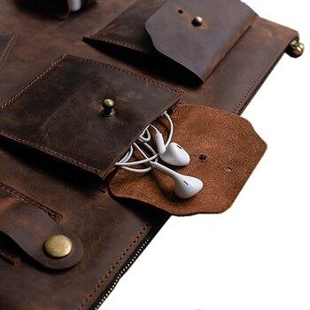 Pochette Pour Hommes En Cuir Vintage Design Original Sac De Classement En Cuir De Vachette De Cheval Fou Personnalisé Cadeaux Pour Hommes Recommandés