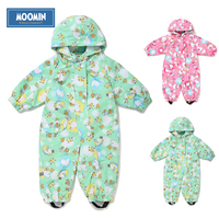 2015 New Moomin Baby Spring Coverall Polyester Character Full Sleeve Broadcloth Pink 62 80 Girls Spring