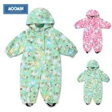 2015 Nouveau Moomin bébé Printemps combinaison Polyester Caractère Complet manches Drap Rose 62-80 filles Printemps barboteuse étanche