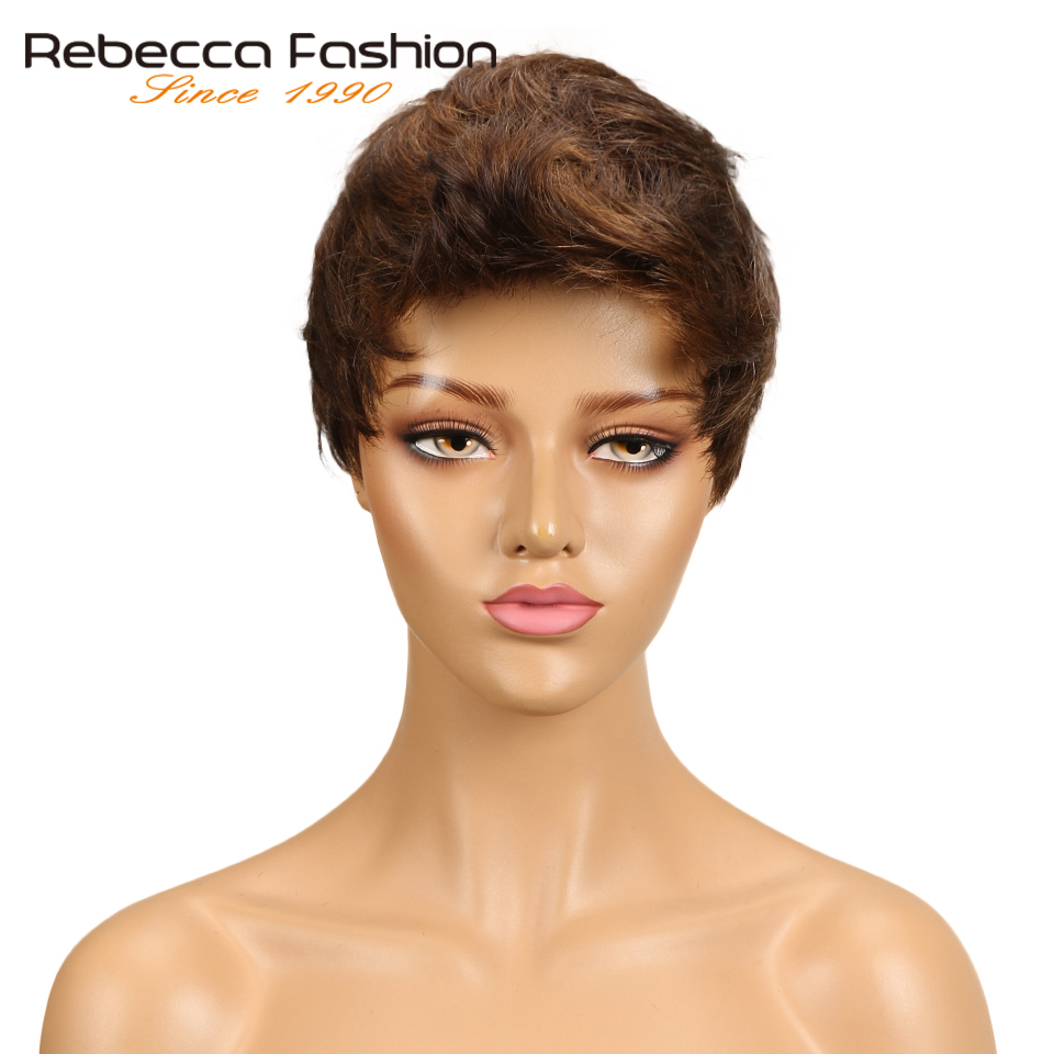 Rebecca Mix Color Short Wavy Wave Hair Wig Peruvian Remy Human Hair Wigs For Black Women Brown Red Wig Free Shipping