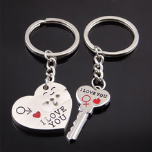 Fashion Heart Key Chain Silver Color Lovers Love Ring Valentines Day Gift 1 Pair Couple I LOVE YOU Letter Keychain Jewelry