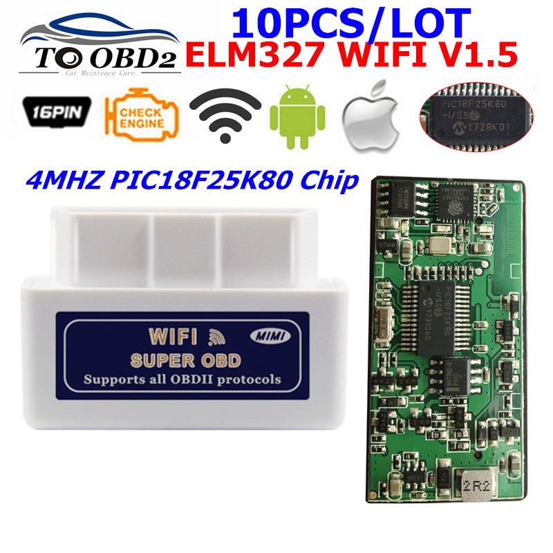 10PCS/LOT ELM327 WIFI PIC18F25K80 Hardware V1.5 Works 12V Diesel Cars ELM 327 WiFi 1.5 For Android/iOS/Computer System
