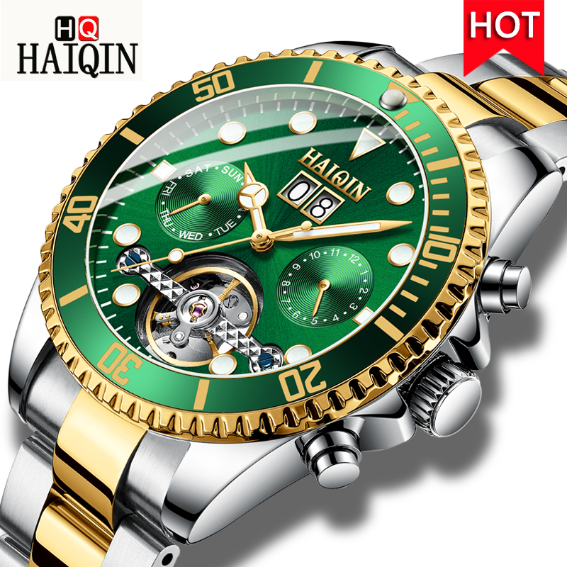 HAIQIN New Luxury Automatic Mechanical Watch Men Tourbillon Stainless Steel Wristwatch Waterproof Male Clock Relogio Masculino