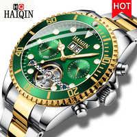 HAIQIN New Luxury Automatic Mechanical Watch Men Tourbillon Stainless Steel Wristwatch Waterproof Male Clock Relogio Masculino