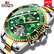 HAIQIN New Luxury Automatic Mechanical Watch Men Tourbillon Stainless Steel Wristwatch Waterproof Male Clock Relogio Masculino цена