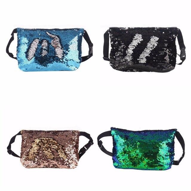THINKTHENDO 24x1x16cm Reversible Sequins Waist Fanny Pack Belt Bag Pouch Travel Sport Hip Purse Women Fashion Design 2018