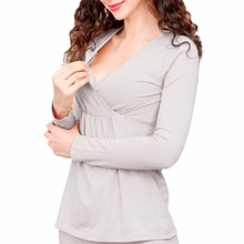 WEIXINBUY 100% Cotton Long Sleeve Nursing Clothes Winter Nursing Pajamas Pregnant Pyjama Breastfeeding Pregnancy Gravidity Night