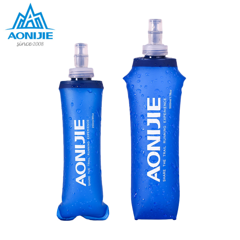 AONIJIE 170ml 250ml 500ml Sports BPA Free Collapsible Foldable Soft Water Bag Water Bottle Kettle Flask Hydration Pack Bladder aonijie foldable soft water bag outdoor sports kettle water storage bottle running hiking travel flask bottle 250ml 500ml