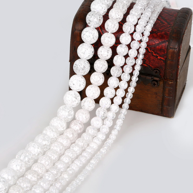 Rock Spacer Beads Natural Loose Snow Cracked Charm Round White Crystal Bead Sale