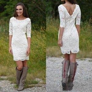 Image 2 - Short Lace Beach Wedding Dresses Half Sleeve 2021 Modest Jewel Neck Low Back Bohemian Western Cowl girl Country Bridal Dress