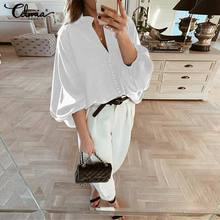 Women Blouses Celmia 2019 Spring Autumn Black White Shirts Long Lantern Sleeve Buttons Deep V Neck Blouse Sexy Plus Size Tops