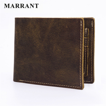 MARRANT 2016 Vintage Crazy Horse Genuine Leather Men Wallets Simple Short Men Wallets High Quality Nature Cowhide Leather Purse