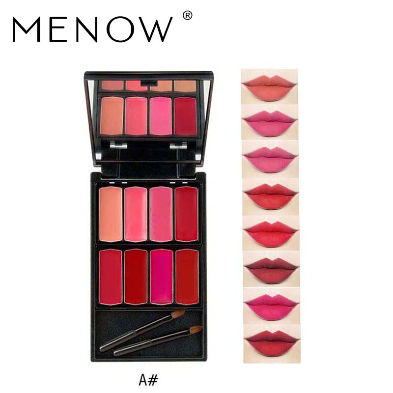 MENOW Brand 8 colors Lip Gloss Palette Makeup Waterproof Lasting Moisturizer Lipsticks Women beauty lips Cosmetic Lip tintL501 2