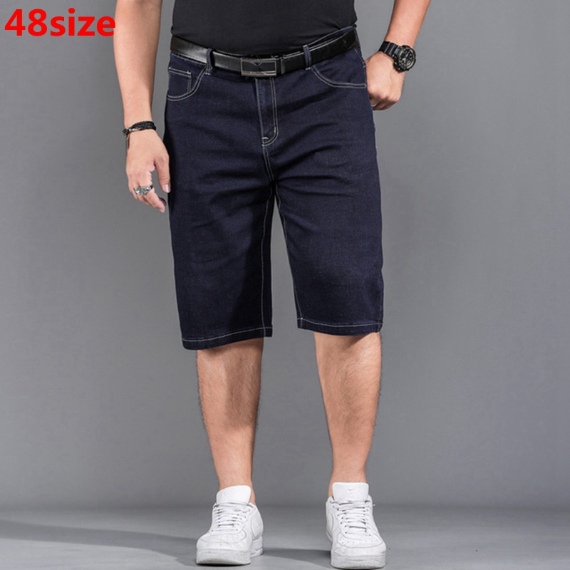 Plus Size XL Shorts Big Size Thin Section Stretch Men's Summer Jeans Loose Black Knee Length Jeans 46 48 44