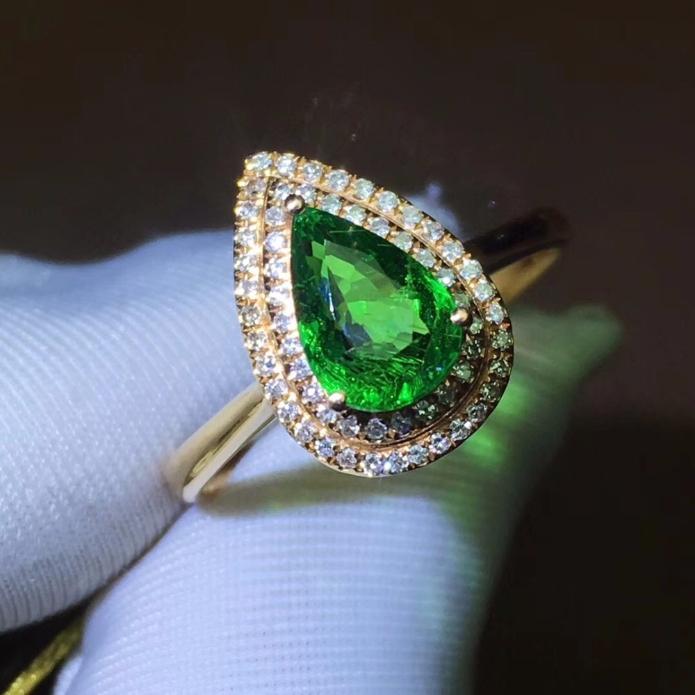 Fine Jewelry Real 18K White Gold 100% Natural 1.35ct Vivid Tsavorite Gemstones 18k Tsavorites Diamonds Female Wedding Rings