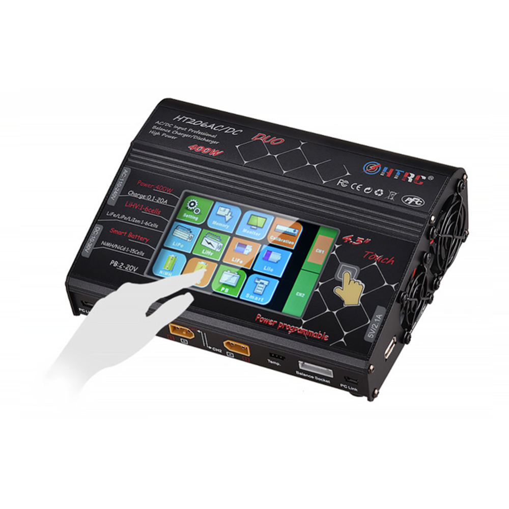 HTRC HT206 DUO AC/DC 2X200W 2X20A 4.3 inch LCD Touch Screen Dual Battery Balance Charger DischargerHTRC HT206 DUO AC/DC 2X200W 2X20A 4.3 inch LCD Touch Screen Dual Battery Balance Charger Discharger