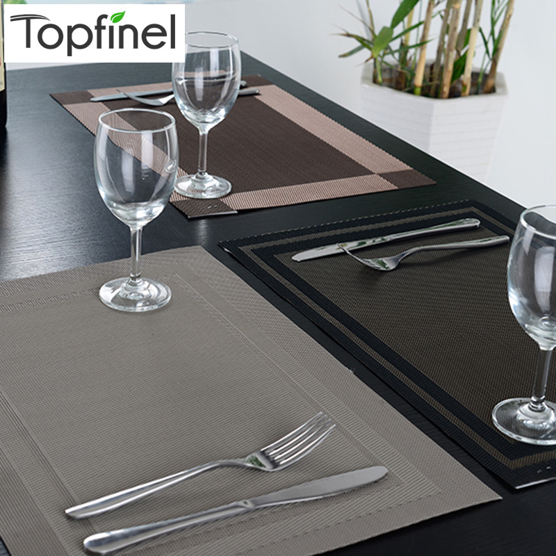 top finel 8pcslot pvc plaid vinyl placemats for dining table runner linen place