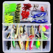 101pcs 1Box Lure Fishing Set Accessory Tackle Box Jig Fly Artificial Fish Bait Wire Connector Fishhooks Beads Ring Pliers Tool