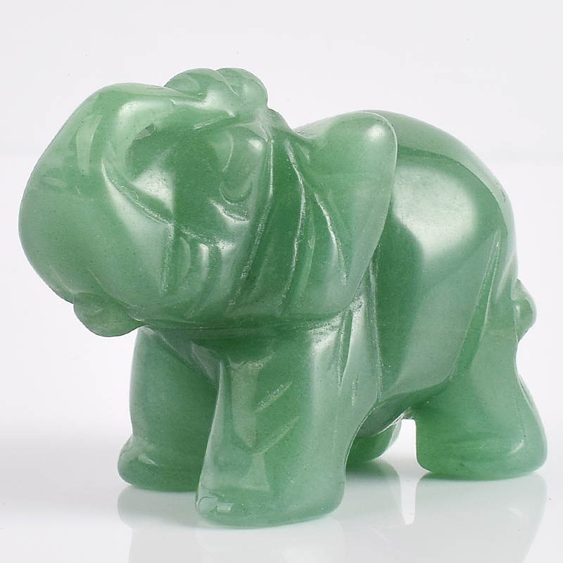 2 Inch Elephant Figurines Craft Carved Natural Stone Green Aventurine - Home Decor - Photo 3