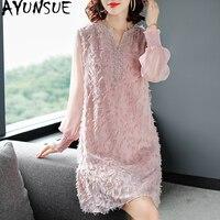 Spring Summer Dress Women Clothes 2019 Casual Fashion Midi Dress Elegant Korean Pink Women's Dresses Long Sleeve Vestido KJ1820
